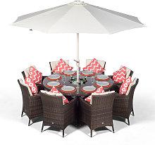 Savannah 8 Seater Brown Rattan Dining Table &