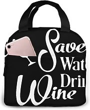 Save Water Drink Wine77 Portable Insulated Lunch