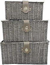 Saving Plus Set of 3 Resin Woven Wicker Hamper