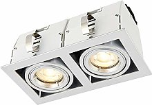 Saxby - Twin Recessed Light Matt White, Silver