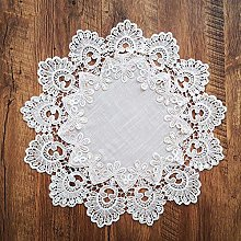 SAXTEL Linen Lace Table Cloth, Embroidered Crochet