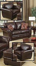 SC Furniture Ltd Brown Leather 2 Seater Sofa + 2