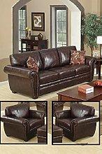 SC Furniture Ltd Brown Leather 3 Seater Sofa + 2