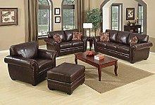 SC Furniture Ltd Brown Leather 3 Seater Sofa +