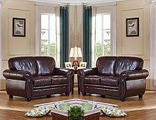 SC Furniture Ltd Burgundy Leather 2 Seater + 2