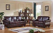 SC Furniture Ltd Burgundy Leather 3 Seater + 2