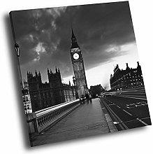 SC282 London Big Ben Black White Square Scenic