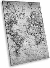 SC355 Vintage World Map Black White Portrait