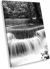 SC446 Waterfall Forest Black White Portrait Canvas