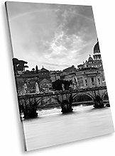 SC457 Rome Skyline Black White Portrait Canvas