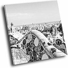 SC518 Barcelona Skyline Black White Square Scenic