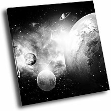 SC892 Planet Stars Cool Black White Square Scenic