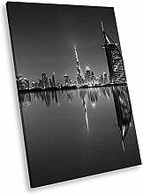 SC902 Sunset Dubai Black White Portrait Canvas