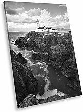 SC904 Lighthouse Black White Portrait Canvas