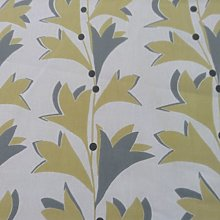 Scandi Melmo Leaf Grey/Yellow Cotton Designer