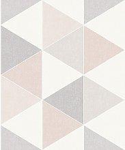 Scandi Triangle Geometric Shapes Wallpaper - Pink
