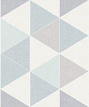 Scandi Triangle Shape Geometric Wallpaper - Teal