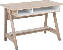 Scandinavian Computer Desk Light Wood with Shelves