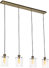 Scandinavian hanging lamp bronze with glass