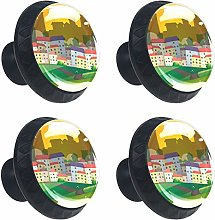 Scene with Many Houses 4PCS Round Drawer Knob Pull