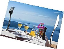 Scenery of A Table Above Sea Printing Placemats