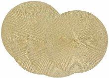 SCF2017 38CM Round Woven Shiny Plastic Placemat