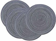 SCF2017 Set of 4 Round Woven Cotton Yarn Placemats