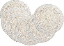 SCF2017 Set of 6 Round Woven Cotton Yarn Placemats
