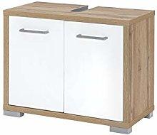Schildmeyer Under Sink Cabinet, White Gloss/Oak