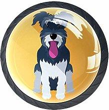 Schnauzer Dog 4 Pack Crystal Glass Cabinet Knob