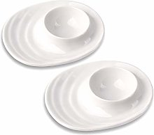 Schramm® 2 Egg Cups Oval Porcelain White Egg