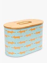 Scion Mr Fox Bamboo Lid Bread Bin, Blue/Multi