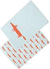 Scion - Set Of 2 Mr Fox Tea Towels - BLUE -