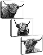 Scottish Cow Canvas Print Animal Painting Wall Art
