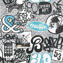 Scrap Metal Graffiti Wallpaper Blue Grey Skater