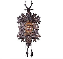 Sculpture Statue,Wall Clock Vintage Solid Wood
