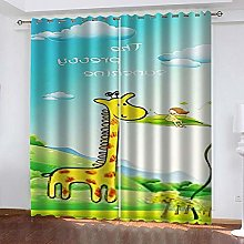 SDSONIU Curtain 110 X 102 Inch Cartoon Giraffe