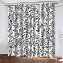 SDSONIU Curtain 59 X 66 Inch Modern Flower Art