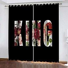 SDSONIU Curtain 86 X 87 Inch Alphabet Floral