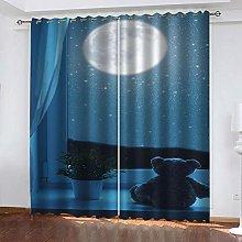 SDSONIU Decoration Curtains 86 X 87 Inch Blue