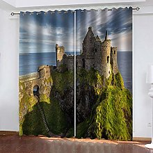SDSONIU Decoration Curtains 86 X 87 Inch Retro