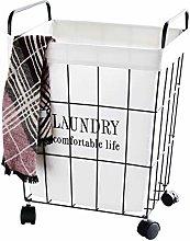 SDSPKX Retro Wrought Iron Linen Laundry Basket,