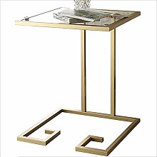 SDWCWH Home Standing Table,Iron Glass Coffee