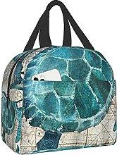 Sea Blue Marine Turtle Portable Lunch Bag