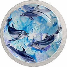 Sea Blue Pattern with Dolphins Set of 4 Drawer
