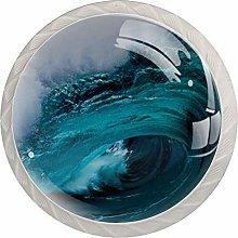 Sea Blue Water 4pcs Glass Cupboard Wardrobe