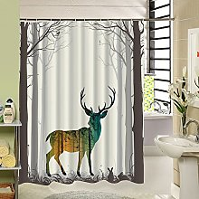 Sea&Cloud Animal Print Shower Curtain Forest Deer