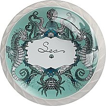 Sea Life Doodle 4PCS Round Shape Cabinet Knobs for