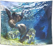 Sea Lion Tapestry Wall Hanging Sandy Beach Picnic