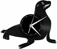 Sea lion vinyl wall clock, vinyl record home